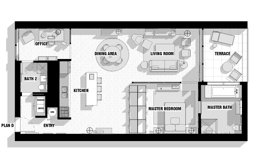 City loft floor plan interior design ideas - Plan de loft moderne ...