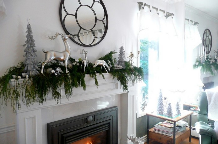 evergreen garland mantel decor