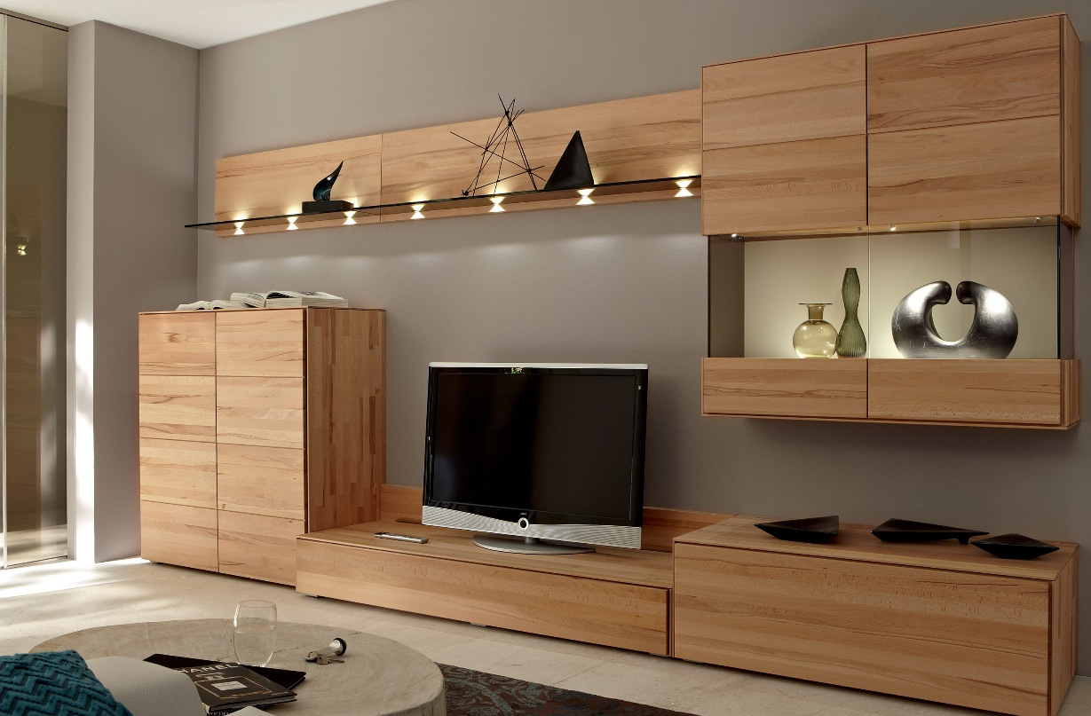 Wooden Wall Units For Living Room Wooden Finish Wall Unit Combinations From Hülsta