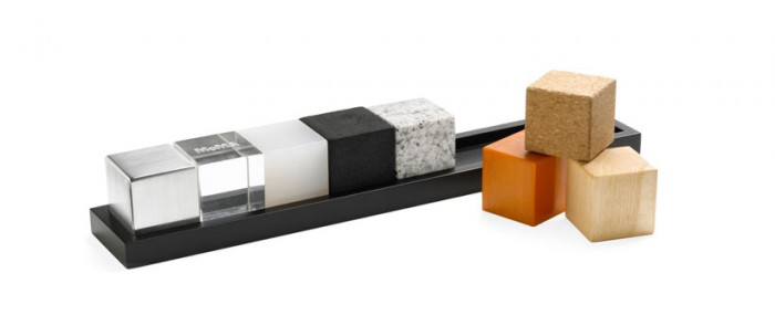 Architect Cubes: Made of maple wood, bakelite, cork, granite, EVA, silicone, acrylic, and aluminum. Designed to encourage the creative exploration of forms and materials.