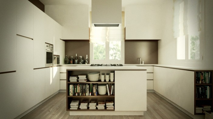 This wood accented island with bookcase offers a spot of warmth and personality in an otherwise sleek modern kitchen.