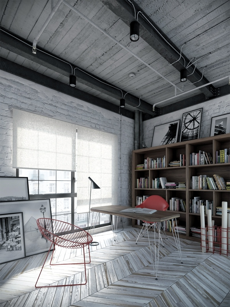Weathered Gray Variations And Pops Of Red On The Chairs And Accents