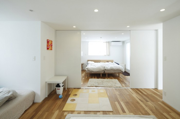 Sliding doors are often used in Japanese bedrooms to provide privacy when needed and allow a flow between interior spaces when open.