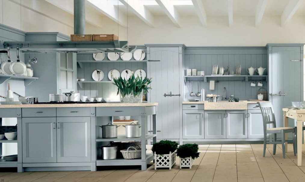 Light Blue Country Kitchen Interior Design Ideas