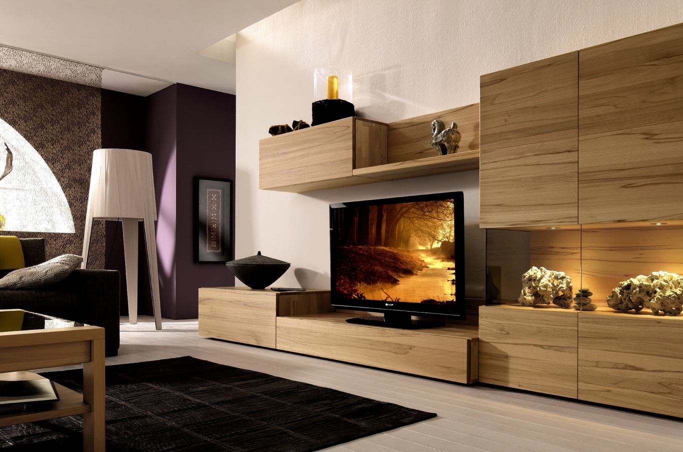 Wooden finish wall unit combinations from h lsta for Modern living room shelving units