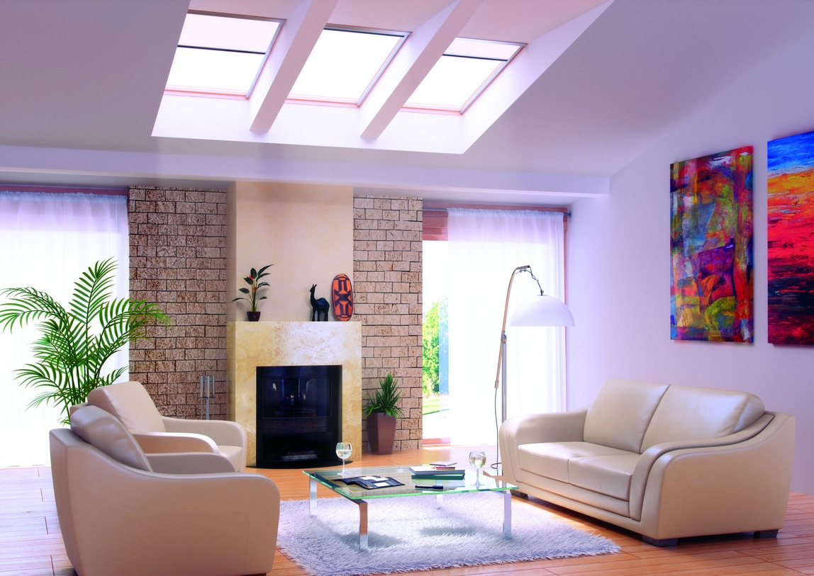 Living rooms with skylights for Design of living room