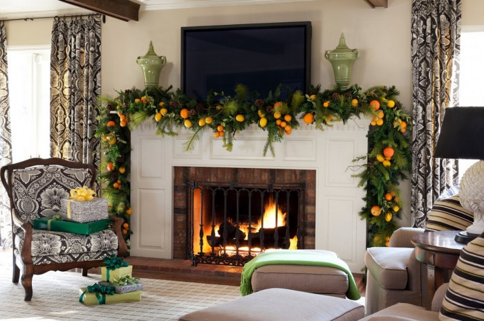 mantel christmas garland ideas