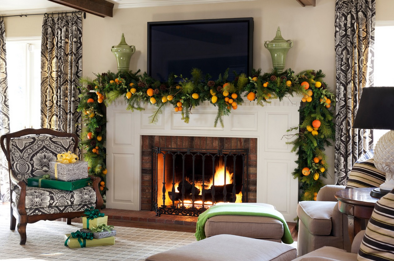 Mantel Christmas Garland Ideas Interior Design Ideas