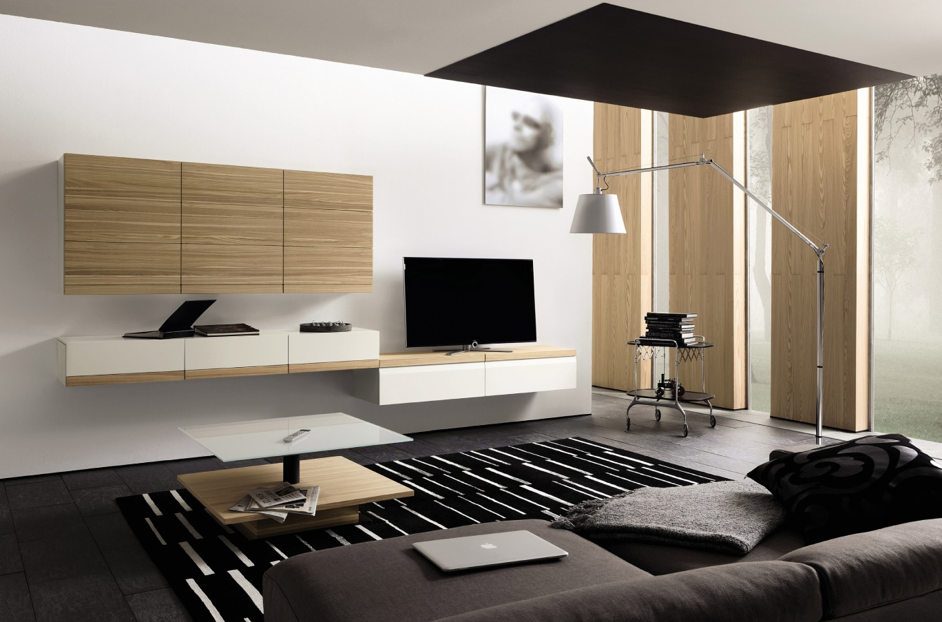 Wooden finish wall unit combinations from h lsta for Lounge units designs