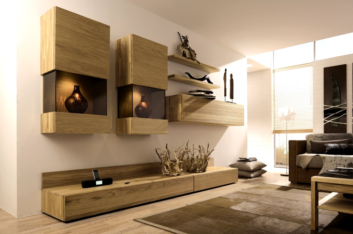 wooden finish wall unit combinations from hlsta - Media Wall Design