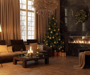 Modern decors don't have to be cold and unwelcoming during the holidays. Adding a Christmas tree, candles and a few festive Christmas baubles can amp up the welcome factor in a contemporary setting.