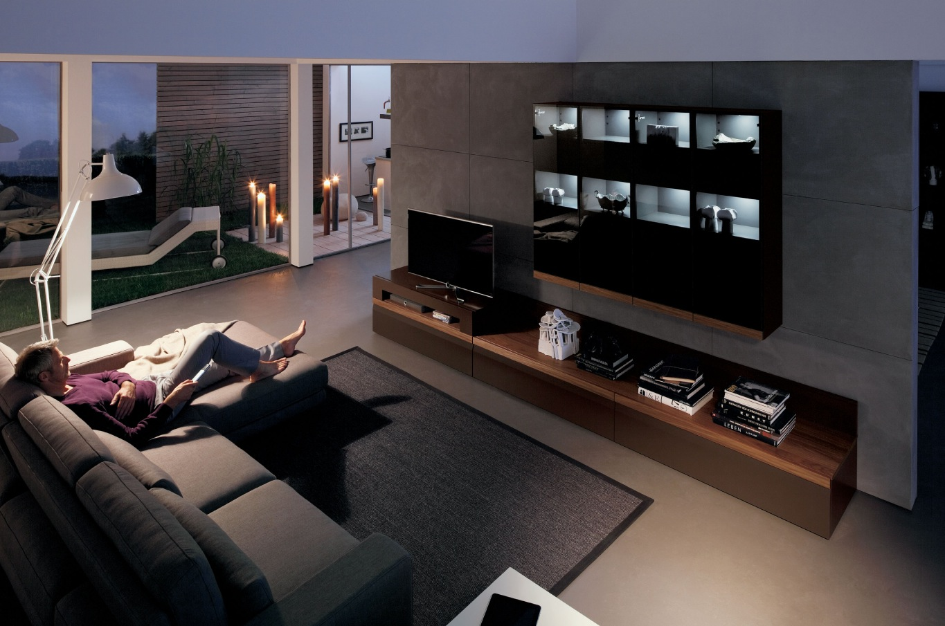 Wooden finish wall unit combinations from h lsta for Furniture for media room