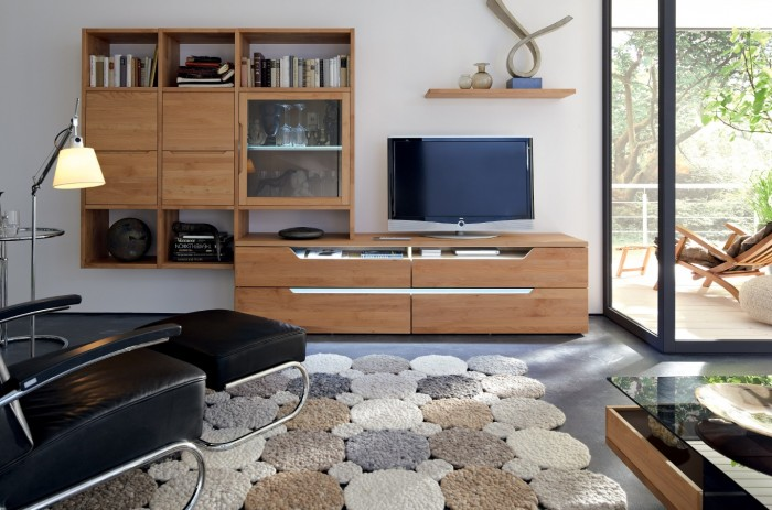 modern medium wood media center