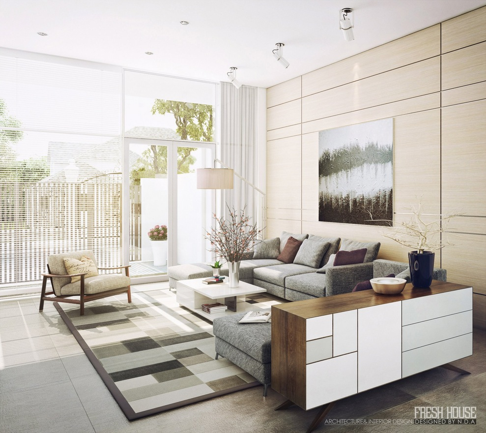 Modern Neutral Living Room Decor Ideas - Light filled contemporary living rooms