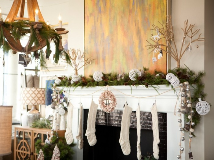 natural christmas mantel decor