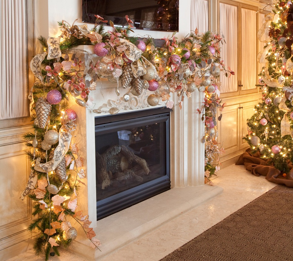 let nature speak for itself like this single garland of greenery placed on the mantel - Christmas Mantel Decor