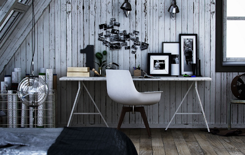 Rustic Grey Paneling X - A dozen home workspaces