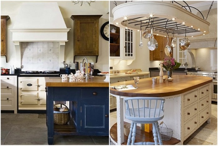 These Old World style gourmet kitchens boast islands in charming wood, one with a large solid work surface, the other with a bar sink and task area.
