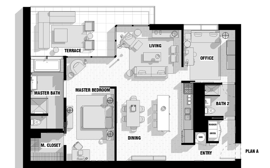 Single male loft floor plan interior design ideas for Two bedroom house plans with loft