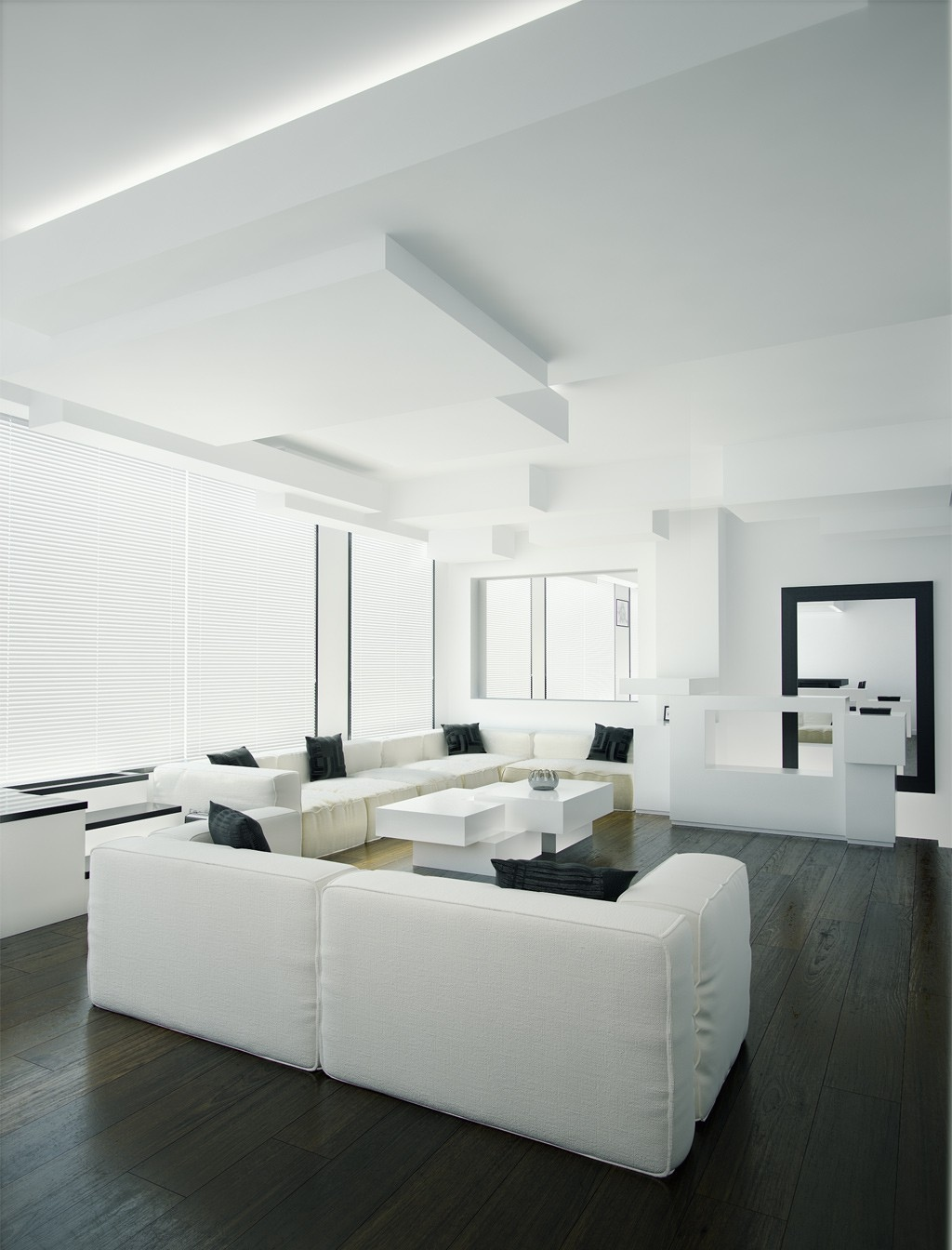 White and black living room interior design ideas White and black modern living room