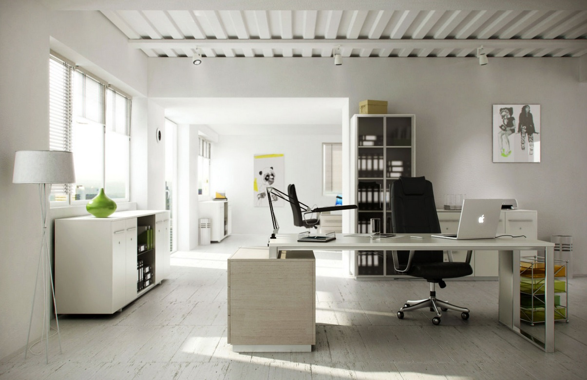 White home office interior design ideas for Beautiful modern office design