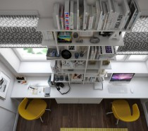 This dynamic loft workspace packs a lot into a tiny amount of square footage by taking the space soaring upwards with dramatically tall bookshelves and huge windows.