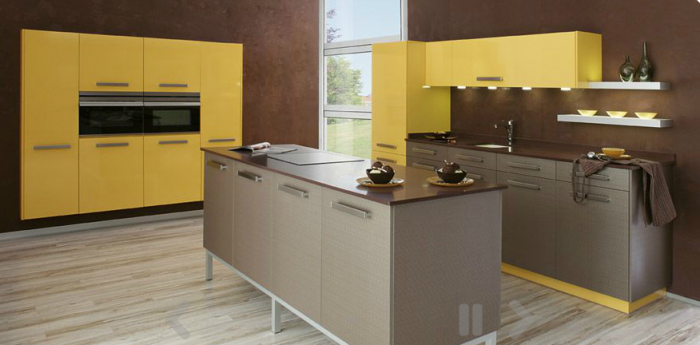 20 kitchen island designs for Modern yellow kitchen design