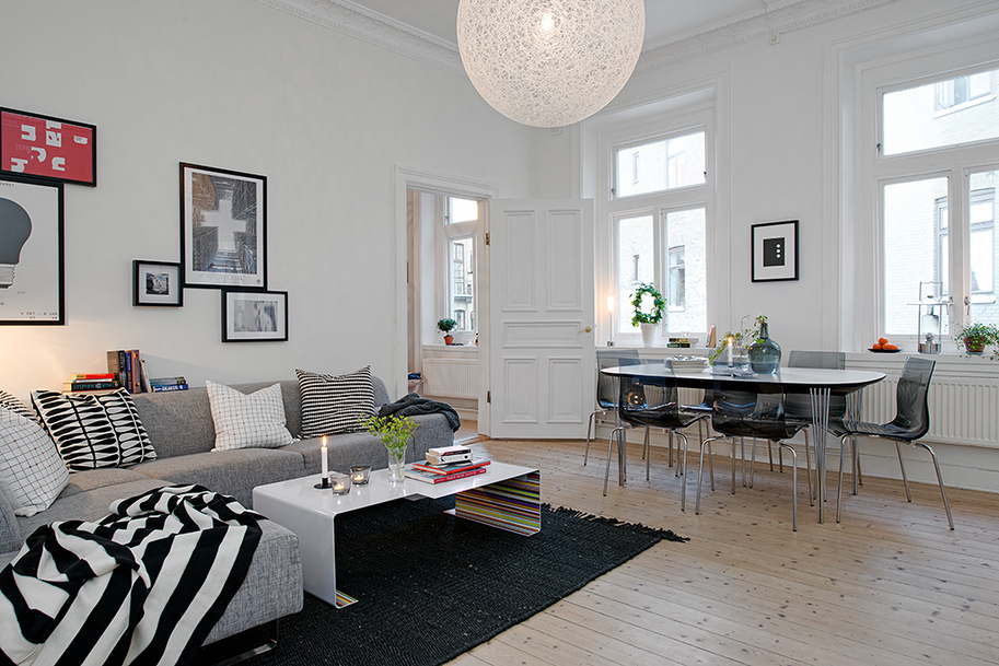 Swedish apartment boasts exciting mix of old and new for Apartment living decorating ideas