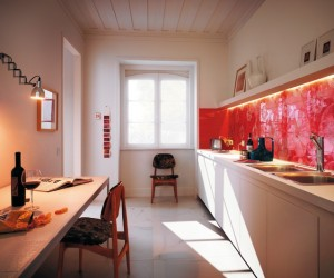 brilliant red graphic backsplash