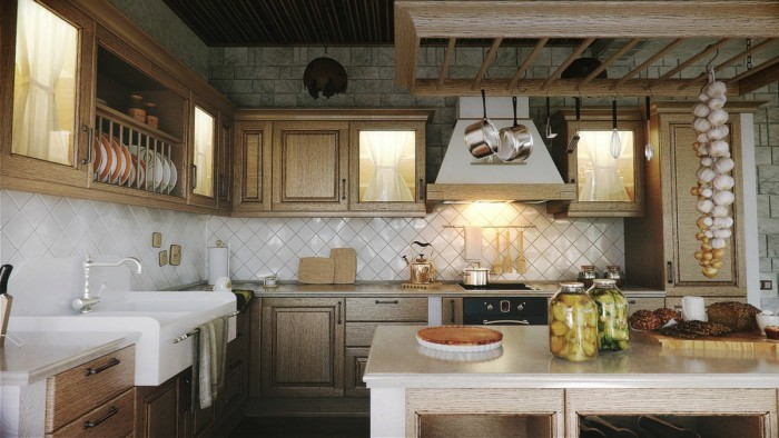 The overly textured cabinetry in a warm finish adds a warmth to the space while 4 x 4 white tiles set on the diagonal at the backsplash add interest.