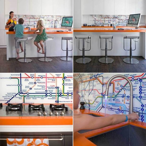 This Subway map graphic backsplash adds a touch of fun to the family kitchen.