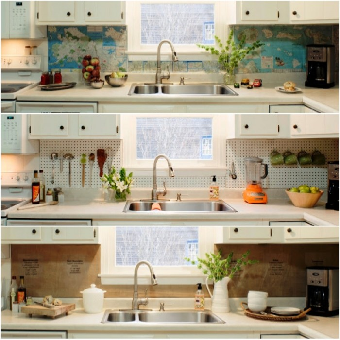 graphic world map backsplash