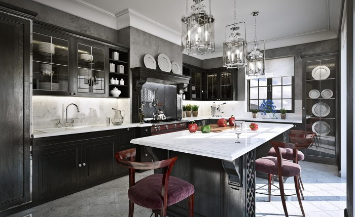 We don't often associate black and grey as being warm and welcoming, but this kitchen pulls it off beautifully using a myriad of reflective surfaces, metallic finishes and brilliant lighting.