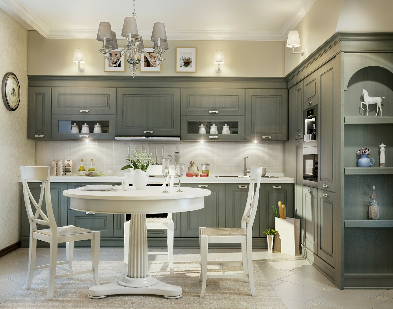11 luxurious traditional kitchens for Grey and white kitchen cabinets