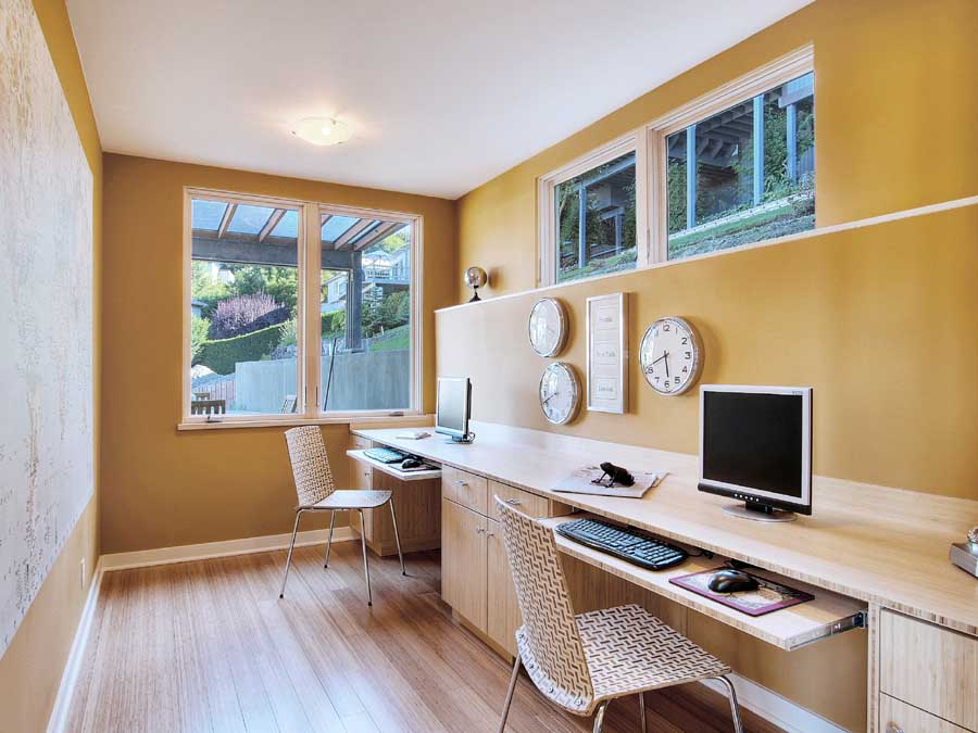 30 basement remodeling ideas inspiration for Office desk layout ideas