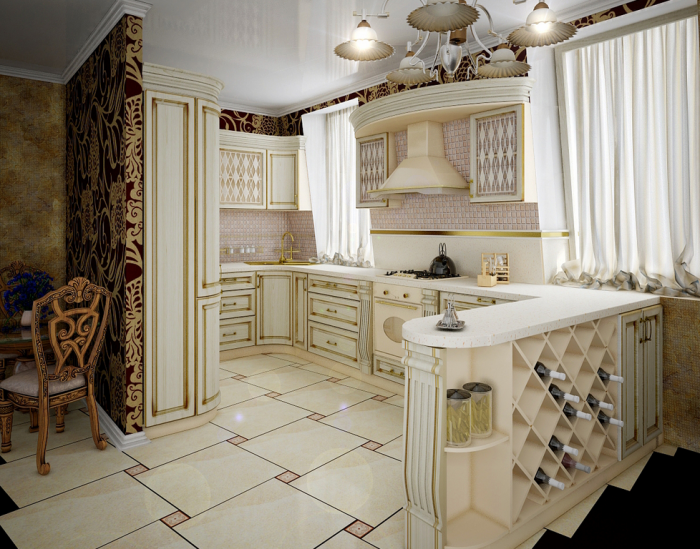 The luxurious kitchen features many over-the-top elements such as intricately carved and detailed cabinetry, oversize marble tile flooring and gold accents throughout.
