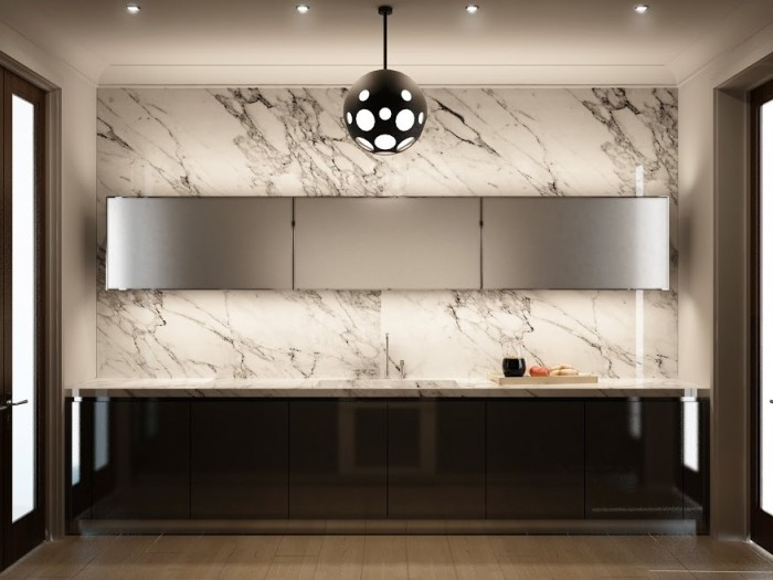 Marble is a popular choice for luxury kitchen backsplashes and walls.