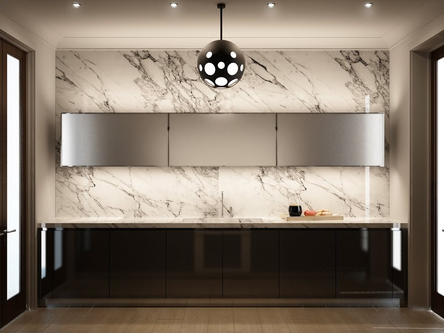 marble kitchen wall - Marble Kitchen Design