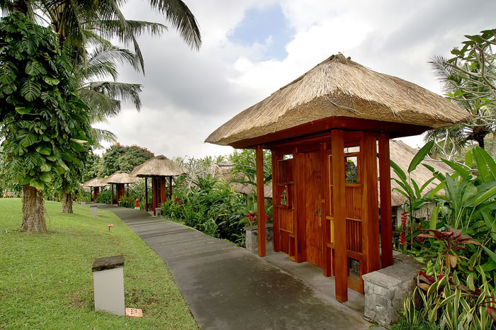 Each villa has a privately gated entrance with a path that leads down to the front door of the villa.