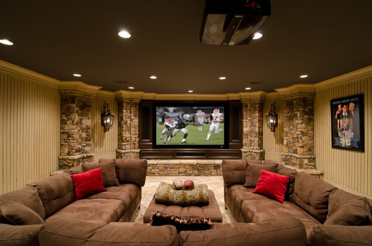 this basement media room family room combination provides the perfect