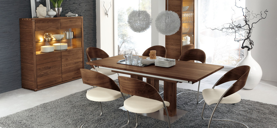 30 modern dining rooms for Modern dining furniture