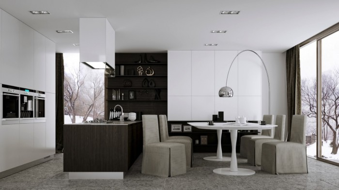 modern kitchen with eat-in dining