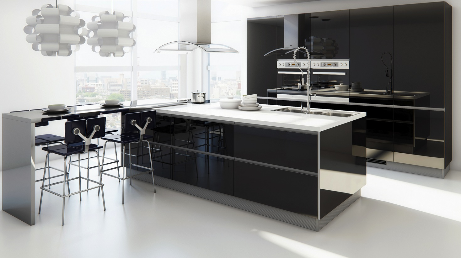 12 modern eat in kitchen designs for Modern kitchen