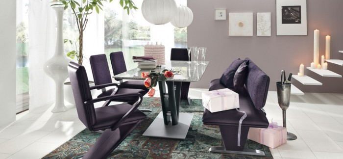 modern purple dining set