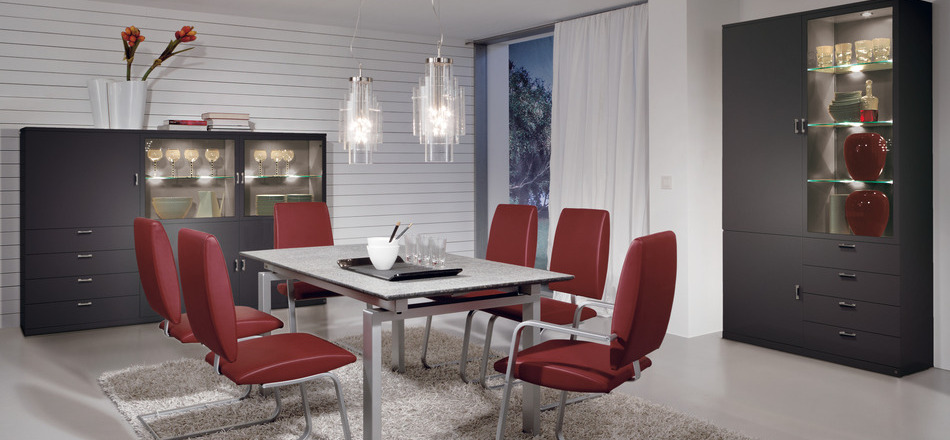 30 modern dining rooms for Red modern decor