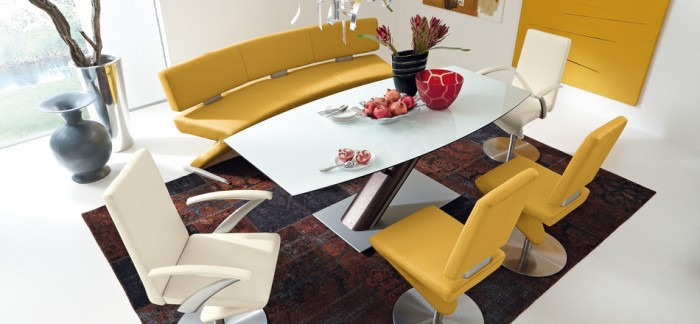 modern yellow leather dining set