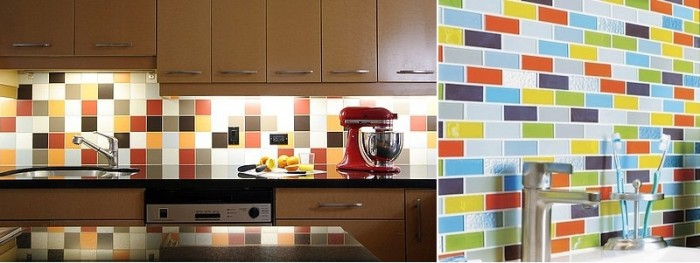 mutlitcolored subway tile backsplash