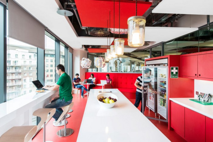 This self-serve 'free food and drink' cafe is standard fare within the offices