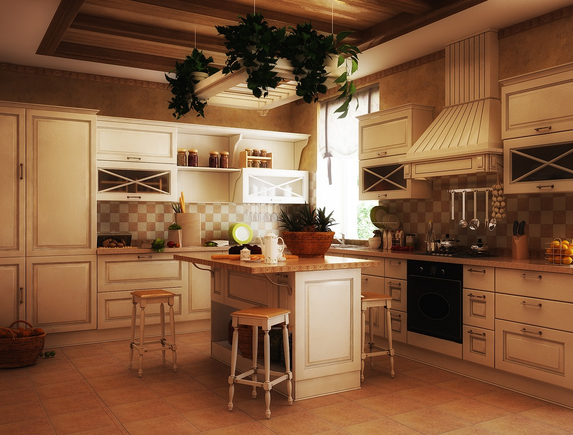 Old world kitchen white interior design ideas for Country kitchen floor ideas