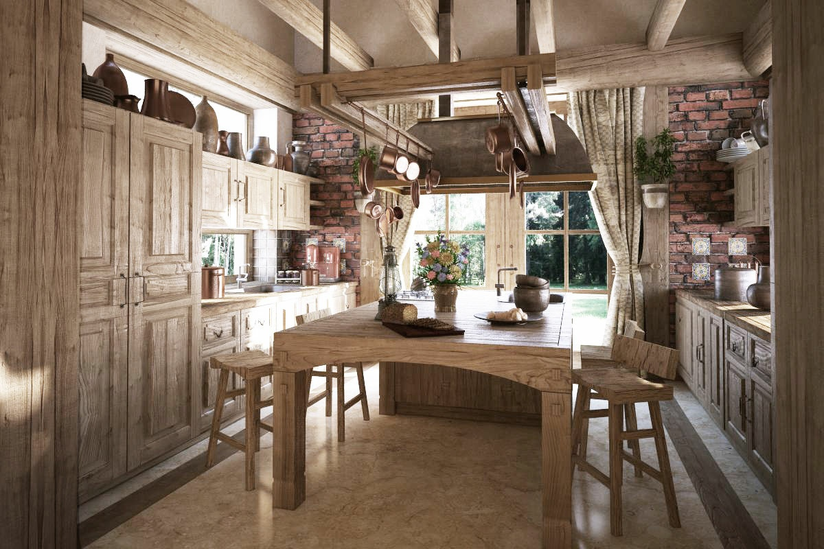 Rustic traditional kitchen interior design ideas for Traditional rustic kitchen